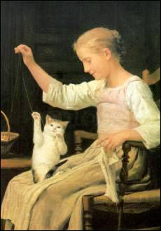 Little Girl Playing With Her Cat