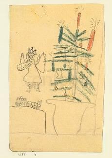 klee paul von weihnachtsbaum mit christkind und eisenbahn. Black Bedroom Furniture Sets. Home Design Ideas