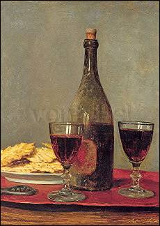 Still-Life with two Glasses of Red Wine, a Bottle and Biscuits